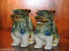 Two Medium Chinese Asian Pottery Foo Dogs Glazed Ceramic Lions (0631)