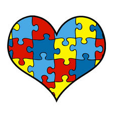 Lot 12 Autism Awareness Heart Puzzle Piece Temporary Tattoos-NEW-FREE SHIPPING