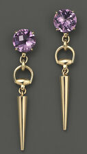 NEW $2250 Gucci 18K Gold Amethyst Horsebit Cocktail Drop Earrings Spike Edgy