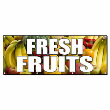 FRESH FRUITS FARMER'S MARKET FOOD FAIR 2 ft x 4 ft Banner Sign w/4 Grommets