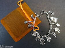 12 Charm Halloween Samhain Bracelet - pentacle pagan jewellery silver wiccan