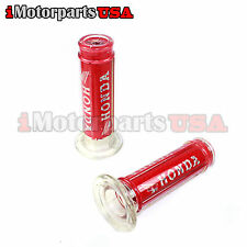 HONDA LOGO RED HANDLEBAR HAND GRIPS STREET BIKE SCOOTER MOTORCYCLE OPTIONALTUBE