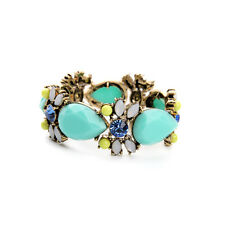 B1490 Fashion Women Aqua Mint Resin Teardrop Beads Floral Statement Bracelets