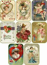 Vintage antique Valentine small tags cards scrap booking crafts set of 8