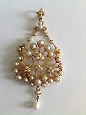 Finest Quality Art Nouveau 15ct Gold Natural Seed Pearl Set Pendant