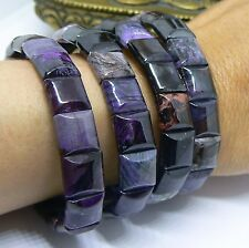 "RARE NATURAL SUGILITE RICHTERITE BUSTAMITE BEADS STRETCH BRACELET 7"" 10mm 95cts"