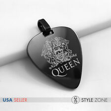 NEW Stainless Steel Queen Rock Band Hot Guitar Pick Music Band Black Pendant 14D