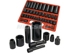 "NEILSEN IMPACT SOCKET SET 38 PIECE 3/8"" 1/2"" DRIVE IN CASE DEEP SHALLOW"