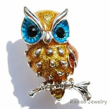 Lovely Enamel Big Eye Owl Animal Crystal Rhinestone Brooch Pins Women/Girl Gifts