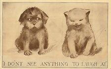 CARTE POSTALE POSTCARD FANTAISIE ANIMAL CHAT CAT I DON'T SEE ANYTHING TO LAUGH