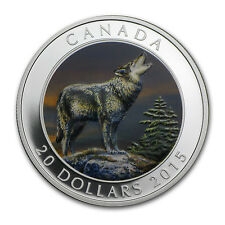 2015 1 oz Proof Silver Canadian $20 Grey Wolf