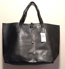 Saks 5th Ave Tote Bag Medium Size Faux Leather BLACK #1015S GWP New