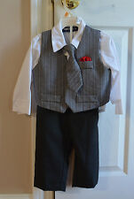 NWOT-HAPPY FELLA TODDLER BOY'S DRESSY 4 PC. OUTFIT VEST SHIRT AND TIE PANTS-CUTE