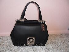 NWT $595 COACH BLACK WESTERN RIVETS DRIFTER LEATHER TOP HANDLE PURSE #57659