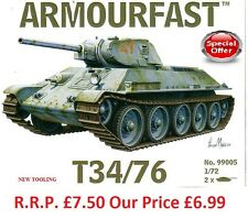 NEW Armourfast 1/72 T34/76 Tank Model Kit - Contains 2 Tanks (13272)