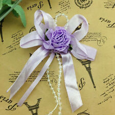 5/15/50pcs Big Satin Ribbon Flower Bows with Bead wedding Decoration Craft A0100