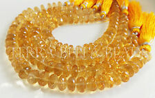 "4"" half strand AAA CITRINE faceted gem stone large rondelle beads 9mm - 9.5mm"
