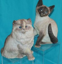 SET OF 2 BEAUTIFUL  KITTEN CATS PERSIAN SIAMESE CAT FIGURINES MUNRO 1995 8""