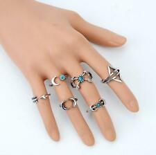6 pcs Silver Rings Set Knuckle Urban Stack Above Band Turquoise Rings UK Seller