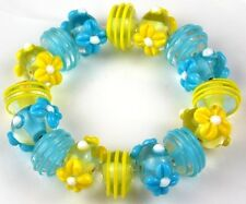 Lampwork Handmade Glass Beads Aqua Yellow Daisy Swirls Rondelle Loose Spacer