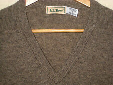 LL BEAN SCOTLAND SOFT PURE LAMBSWOOL V-NECK SWEATER-TAUPE SAND-NICE! - M