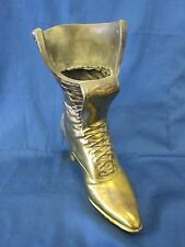"BRASS BOOT - VASE -  HEAVY VINTAGE BRASS METAL LACE-UP BOOT - VASE -9.5"" TALL"