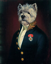 WEST HIGHLAND WHITE TERRIER WESTIE DRESSED DOG FINE ART PRINT Portrait - (LARGE)