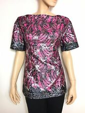 PRADA fuchsia, silver & black banana print boat neck top lurex - blouse 40 It.