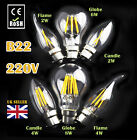 B22 DIMMABLE  2W 4W 6W 8W LED Candle Retro Filament Light Lamp Bulbs Warm White