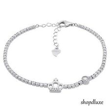 STUNNING ROUND BRILLIANT CUT CLEAR CZ 925 STERLING SILVER CROWN TENNIS BRACELET
