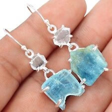 Aquamarine Rough 925 Sterling Silver Earrings Jewelry SE109697
