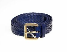 SANTONI Genuine Leather Stretch Belt 42 44 Hand-made in Italy ~ Braided Blue
