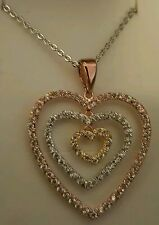 TRI COLOR GOLD HEART PENDENT/ WITH 18 INCH STERLING CHAIN
