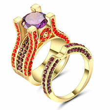 Lady's/Men's Yellow gold Filled Couple Rings Set Multi-Color CZ Amethyst Size 8
