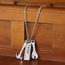 1pc Father Gift Ruler Wrench Hammer Tool Charms Pendant Chain Necklace JDJ Cute
