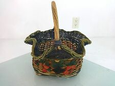"BEAUTIFUL WOVEN MULTICOLORED FRUIT BASKET 12"" X 10"" X 15"" TALL"