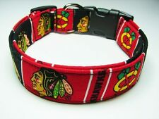 Charming Handmade Chicago Blackhawks Dog Collar Medium