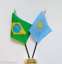 Brazil & Kazakstan Double Friendship Table Flag Set