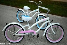 GIRLS 20 IN WHEELS CRUISER BICYCLE - WHITE W PINK  -SIKK