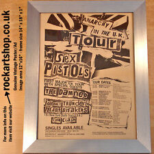 Sex Pistols Anarchy in the UK Tour ORIGINAL 1976 Poster/Ad Framed Johnny Rotten