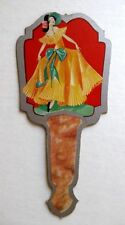 Vintage Bridge Tally Hand Fan w/ Woman in Dress