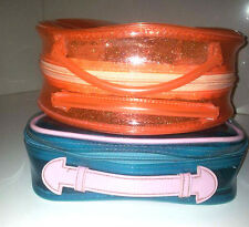 LOTS OF 2 RALPH LAUREN TRAVEL,MAKE UP STORAGE BAG (rare 2003)BLUE& ORANGE RUBBER