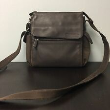 Fossil Brown Leather & Nylon Crossbody Messenger Shoulder Bag Medium