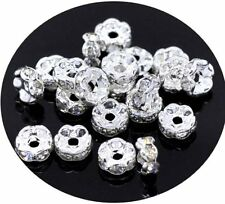 50 Clear Silver Plated Rhinestone Rondelle 8mm Spacer Beads 1.8mm Hole 50