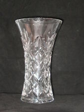 """Cut Glass Fluted Vase Heavy German Crystal Smooth 8"""" with scallop Rim  - Used"""