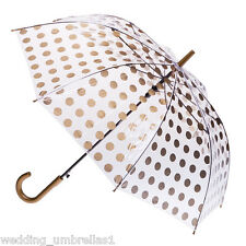 Clifton Clear PVC with COLOURED SPOTS RAIN UMBRELLA Auto Open Gold Spots