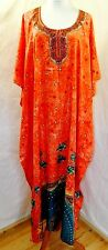NF WOMEN PLUS FREE ONE SIZE FLORAL EMBELLISHED CORAL TEAL KAFTAN DRESS TUNIC
