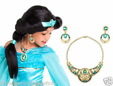 Disney Store GIRLS Aladdin Princess Jasmine Costume Wig & Jewelry Accessory Set