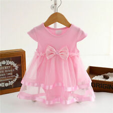 Newborn Kids Baby Girls Clothes Princess Tutu Pink Bodysuit Playsuit Dress 6-9M