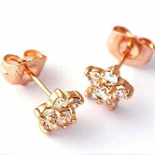 Lucky Womens rose gold plated clear CZ cute  Plum flower small Stud Earrings